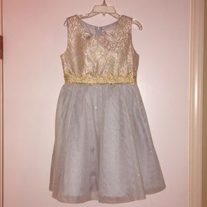 Rare editions ice blue and gold party dress